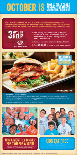 Boys & Girls Club Month at Ninety Nine Restaurants!