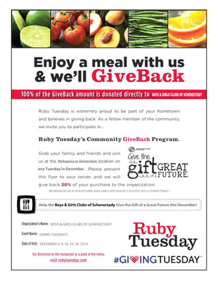 Giving Tuesdays at Ruby Tuesday
