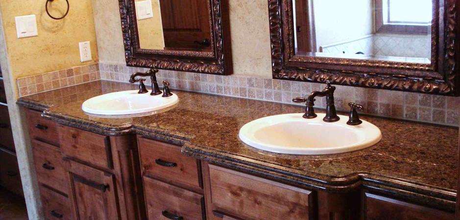Brown Dual Sink Granite Vanity Top