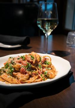 Shrimp Pasta Arrabbiata - Bull and Bird Steakhouse