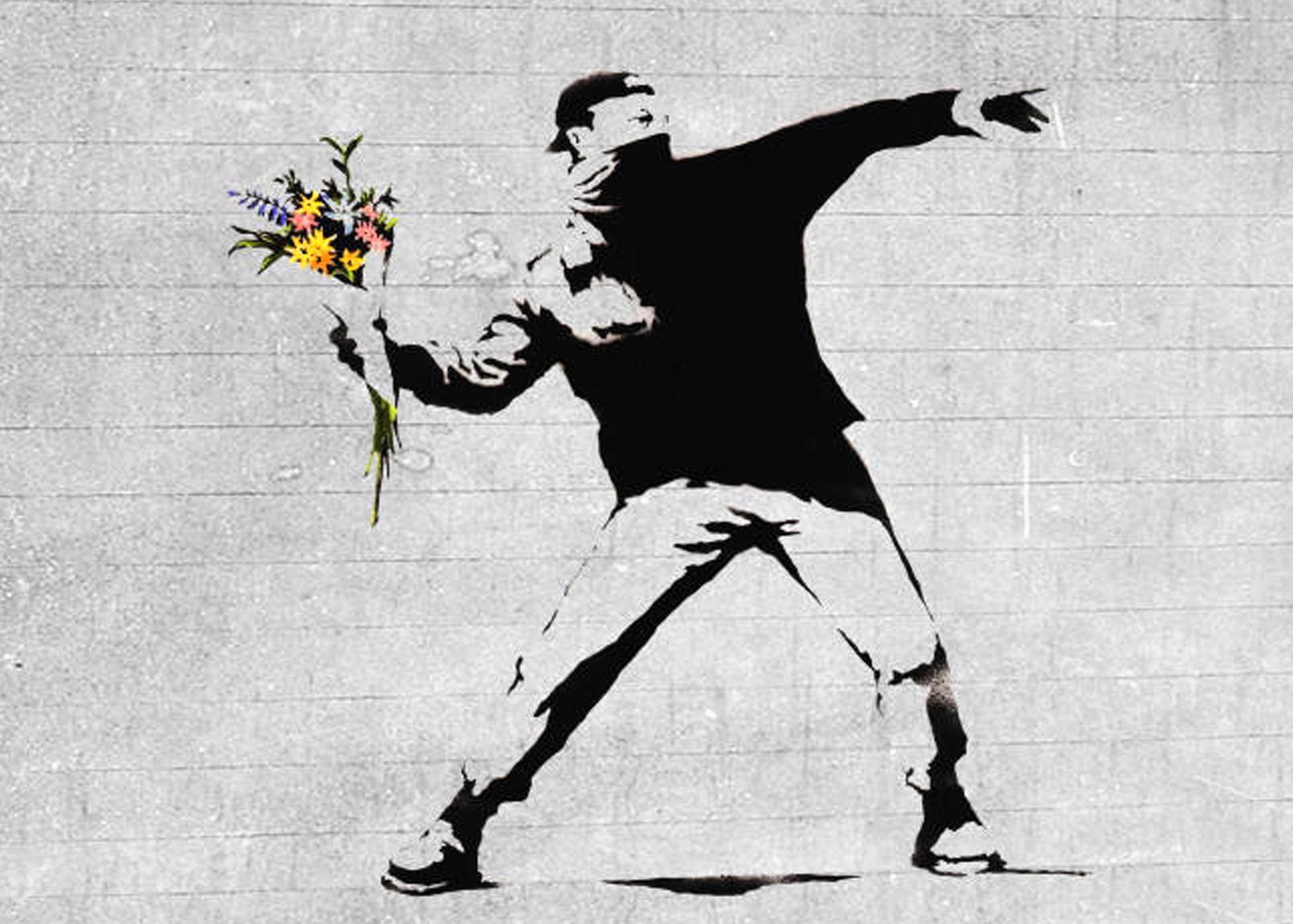 Flower brick thrower_Bansky