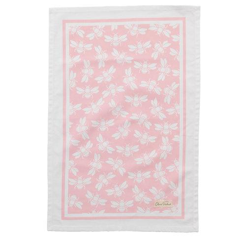Bee Teatowel, Pink