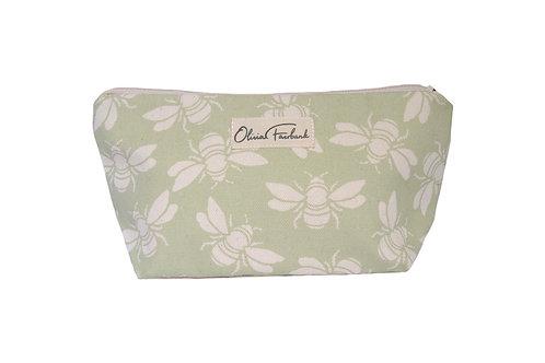 Bee Canvas Wash Bag, Green