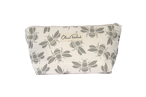 Bee Canvas Wash Bag, Cream