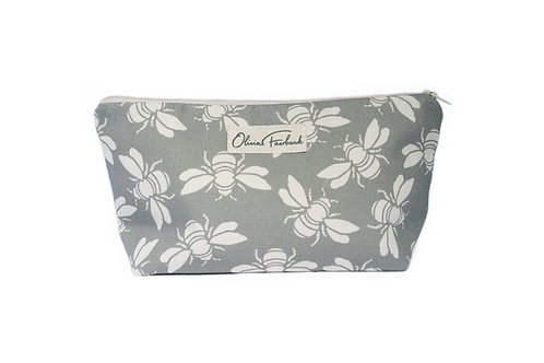 Bee Canvas Wash Bag, Grey