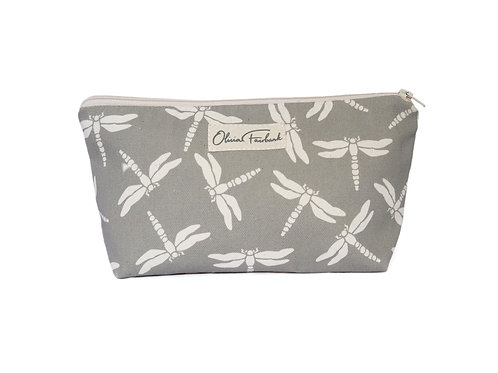 Dragonfly Canvas Wash Bag, Grey