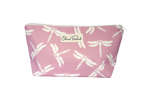 Dragonfly Canvas Wash Bag, Pink