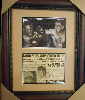 Rocky Marciano autographed news article