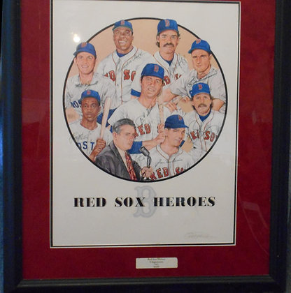 Boston Red Sox Heroes autographed art