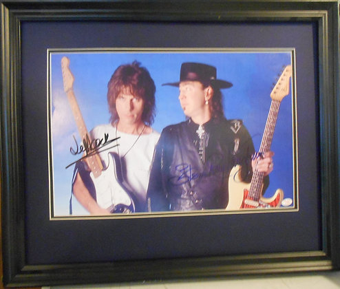 Jeff Beck and Stevie Ray Vaughan autographed photo