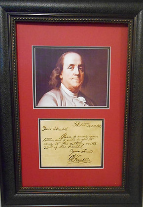 Benjamin Franklin hand written note