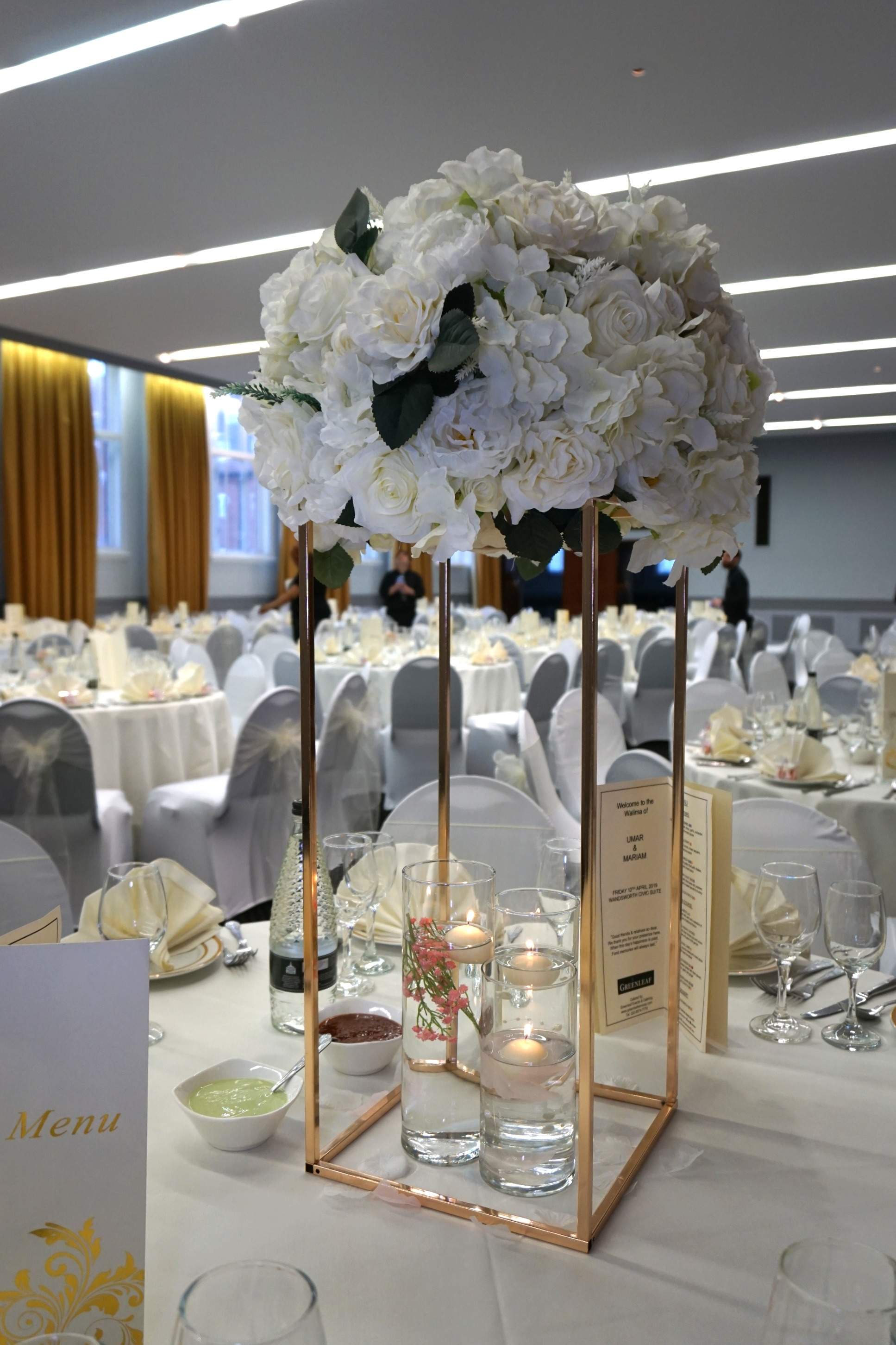 Gold Square Stand Centerpiece