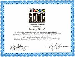 Sacred Geometry won a Billboard song contest award