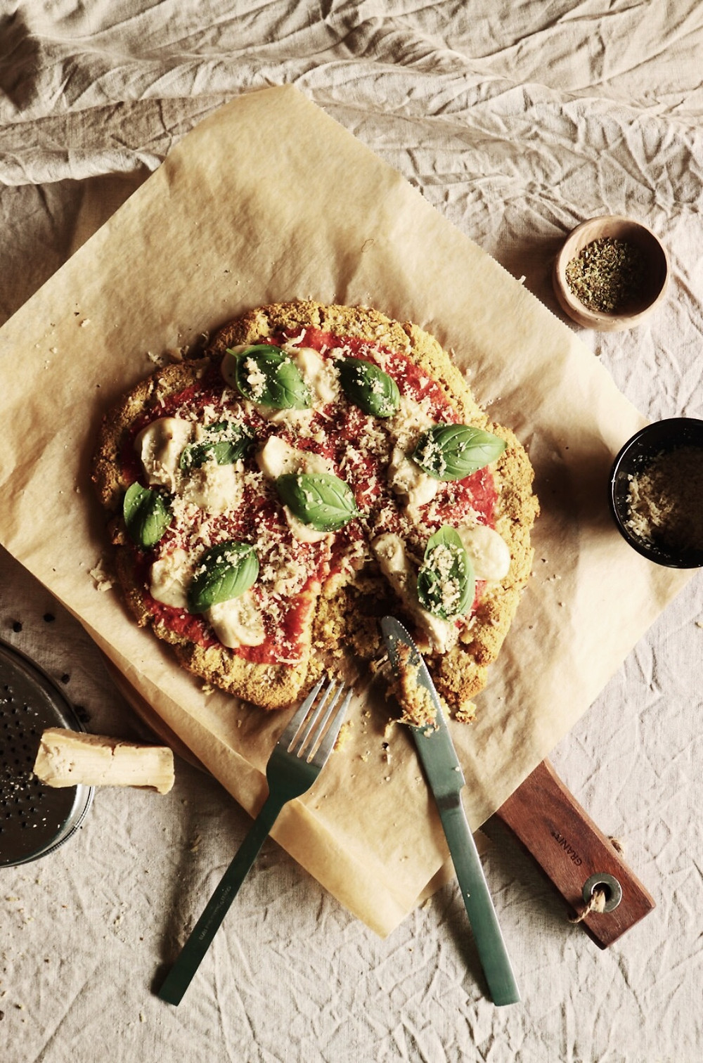 homemade plant-based pizza