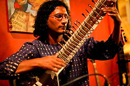 This is Flash Sitar My partner he is here at a gig Sacred Grounds San Pedro CA - Multi Cultural Music - Sitar Song Writing - Eastern Fusion Music