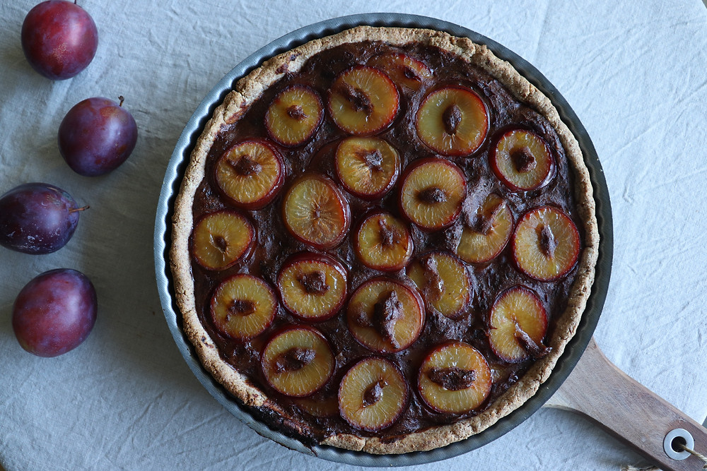 homemade plant-based plum pie