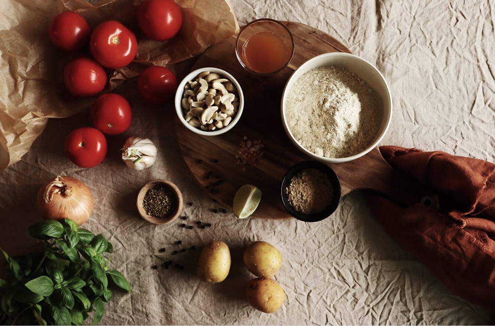 homemade plant-based pizza ingredients