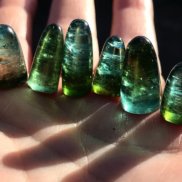 Namibian tourmaline bullets. Bicolored blues and greens