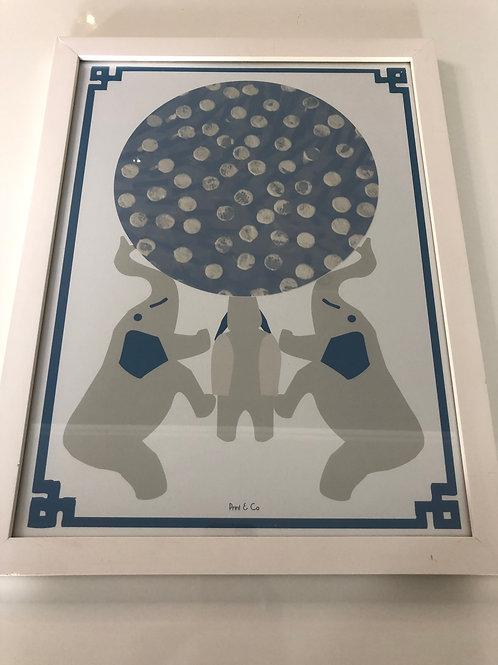 Quadro retangular imagem elefantes - Print & Co