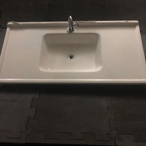 Pia sintética branca para cozinha com torneira - 98x50cm