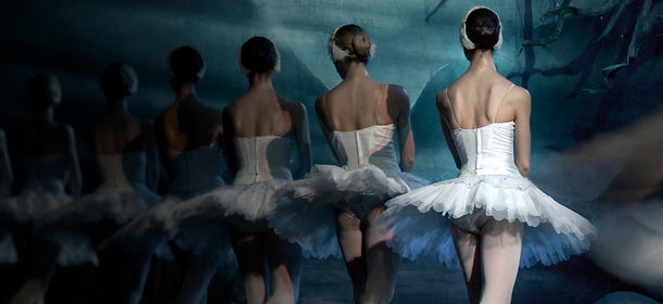 Stock photo of adult ballet dancers dressed in white tutus for a Swan Lake performance.
