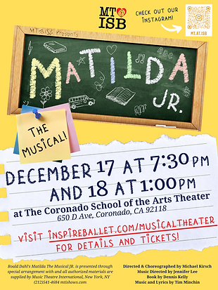 Poster for Matilda Jr. performance by Musical Theater at Inspire School of Ballet.