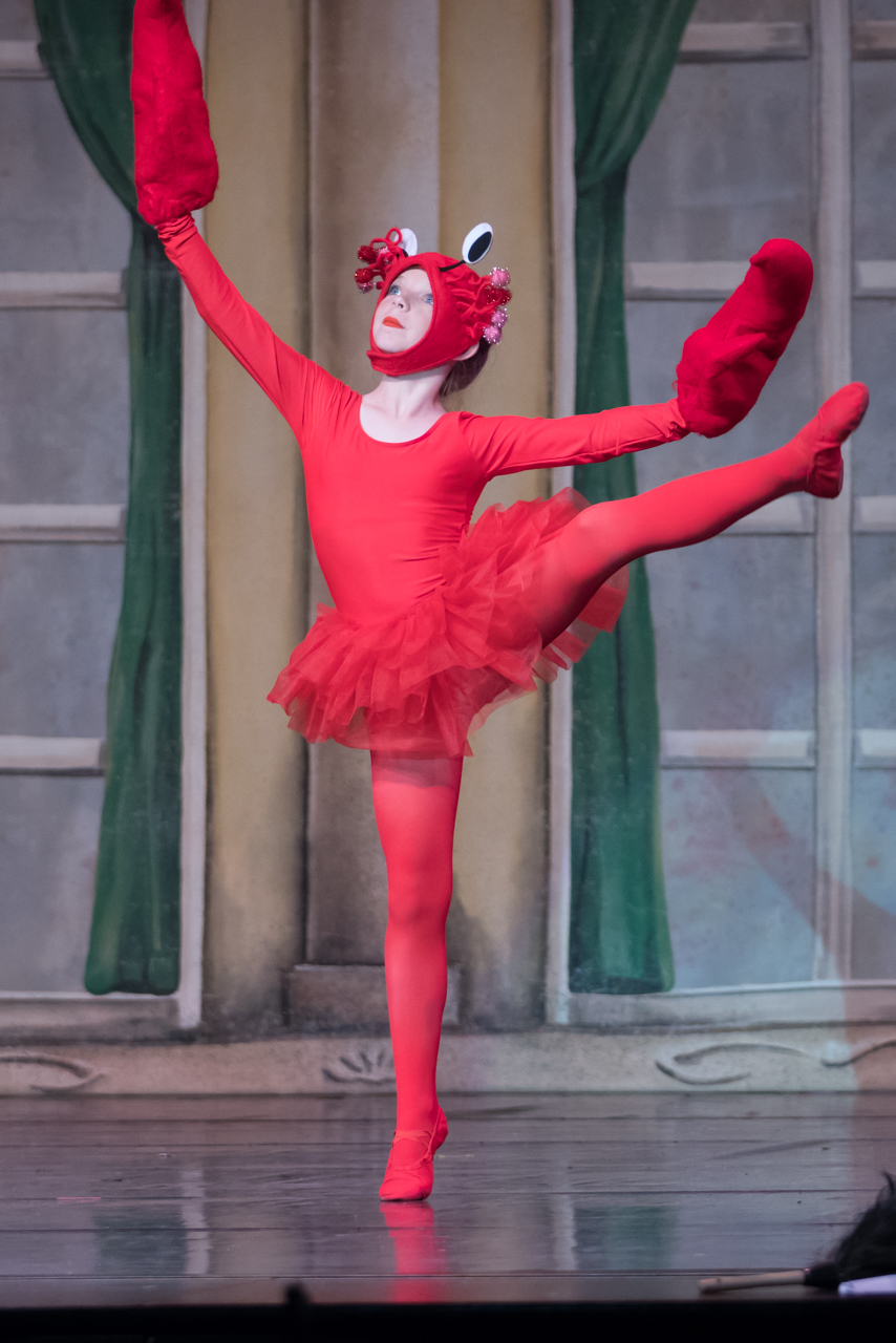 "ISB ballet dancer performing as Sebastian in ISB's ""The Little Mermaid"" show."