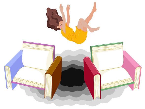 En med langt brunt hår og gul kjole som faller mellom to stoler laget av fire bøker
