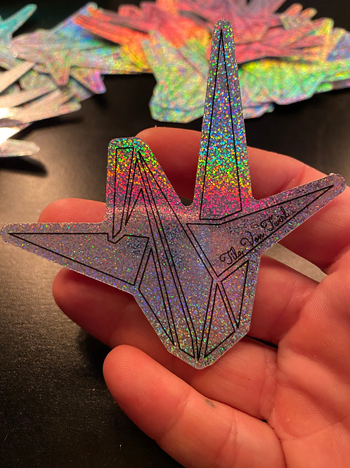 3x3 Origami Crane/TilaVonTwirl Full Glitter Sticker