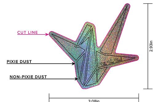 3x3 Origami Crane/TilaVonTwirl Full Glitter Sticker PRE ORDER