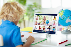 Online remote learning. School kids with