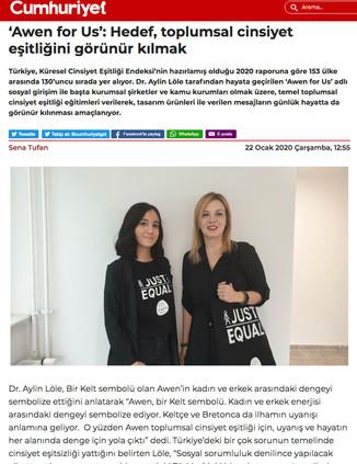 Awen for Us Cumhuriyet Gazetesinde!