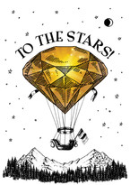 Diamond Hot Air Baloon To The Stars