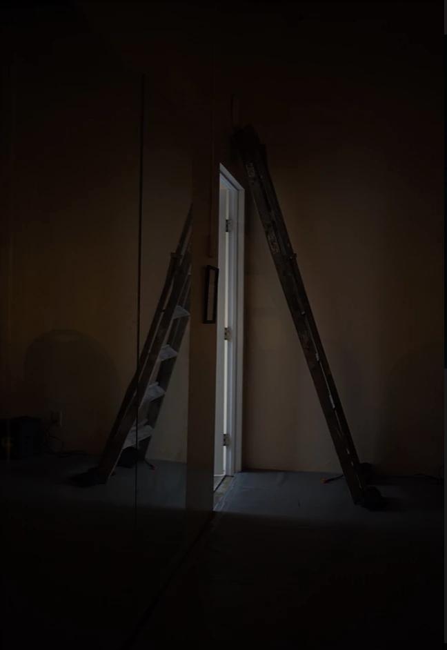 A doorway sits under a ladder