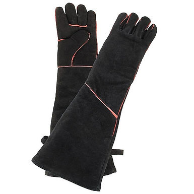 Black Suede Fireplace Gloves A-13B