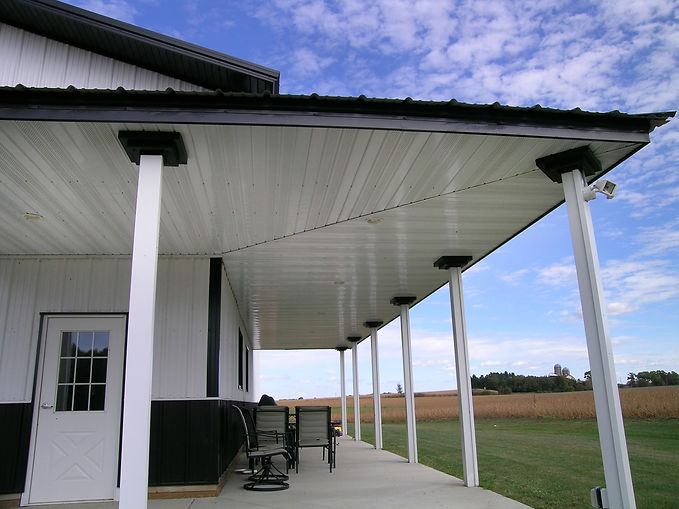 Soffit on patio ceiling