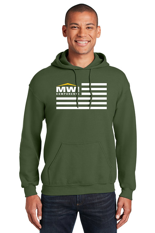 18500 More Colors Unisex MWI FLAG Graphic: Hooded Sweatshirt (Gildan Brand) Swag