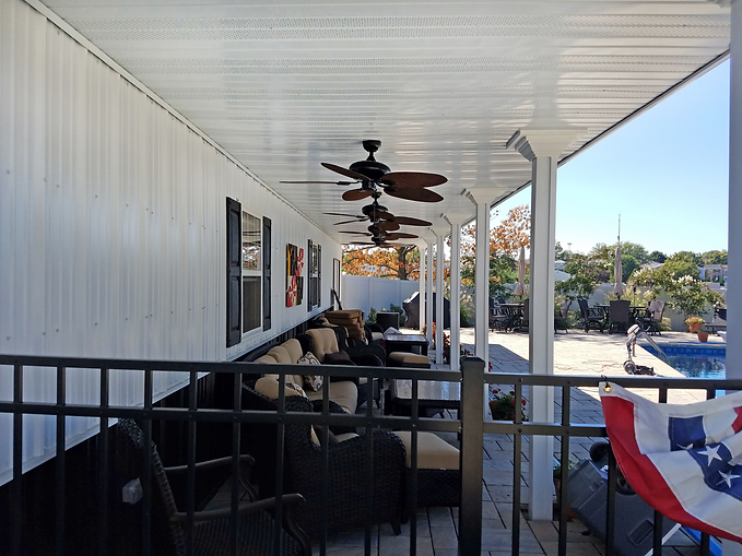 Soffit on outdoor patio