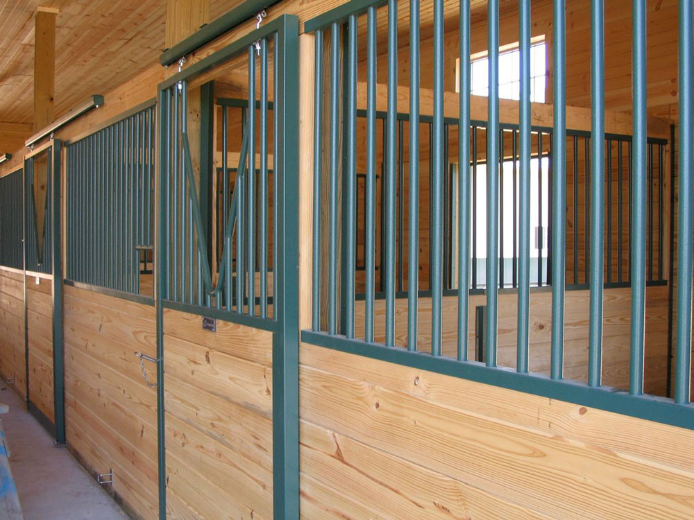 Green horse stalls