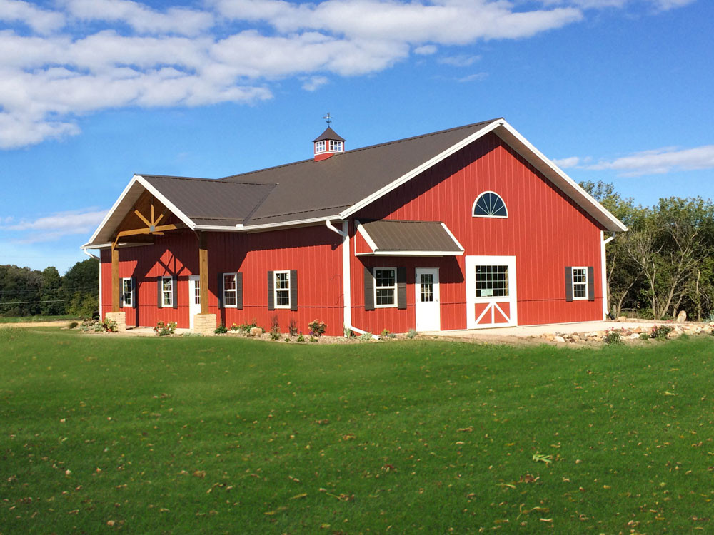 Pole Barn with bright red color