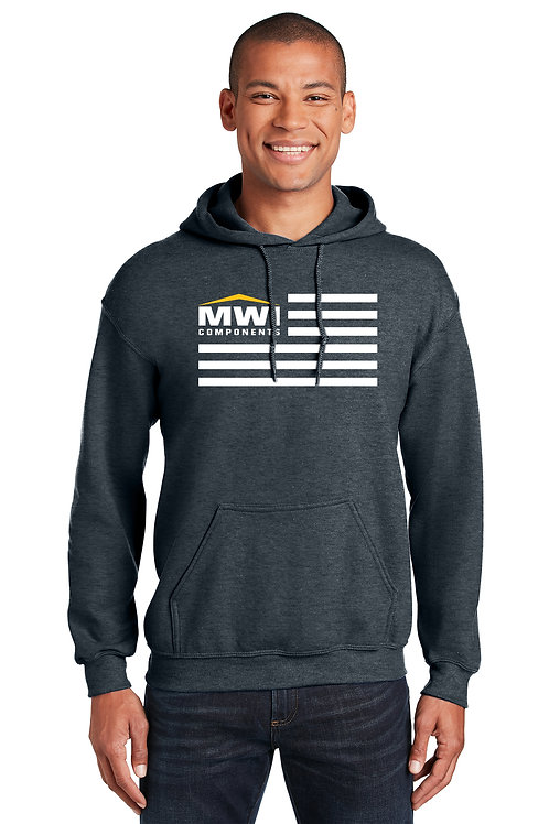 18500 Grey, Blue, Mute, Unisex MWI FLAG Graphic: Hooded Swtshirt. (Gildan Brand)