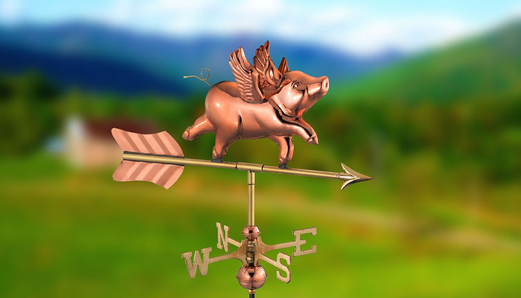 Flying pig copper weathervane