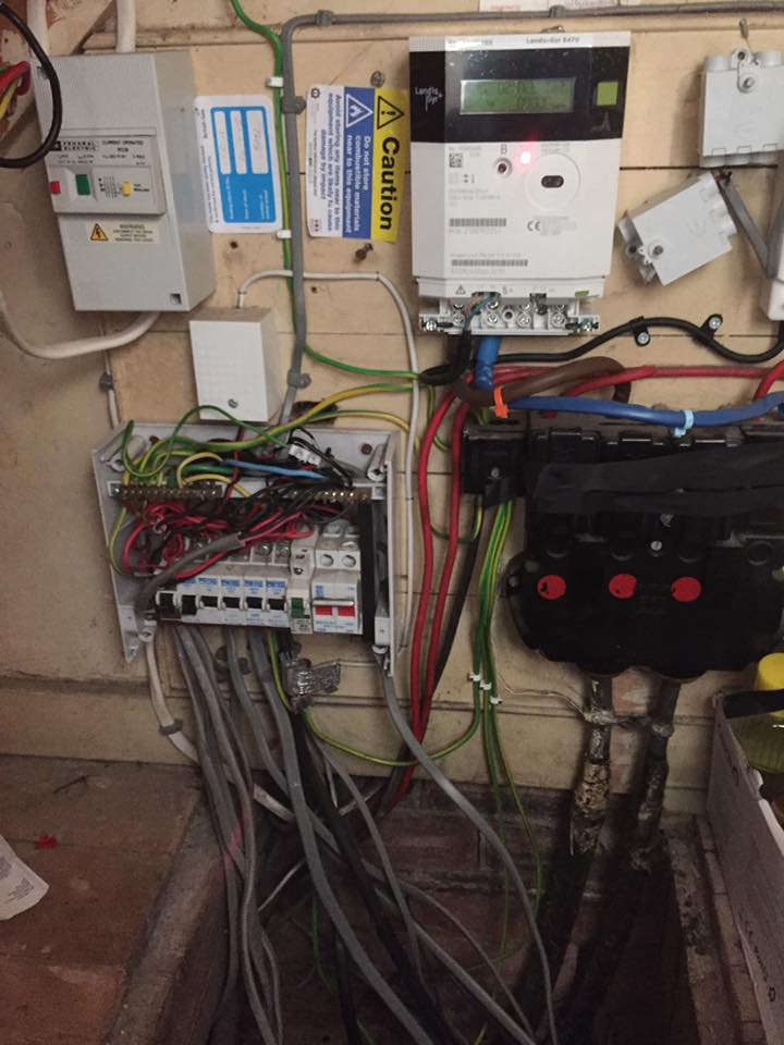 Outdated and overloaded consumer unit.