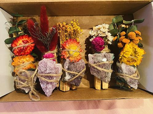 Palo Santo, Dried flower, & Amethyst Bundle