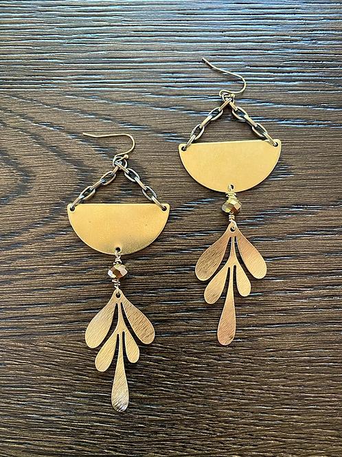 Half Moon falling Leaf earrings