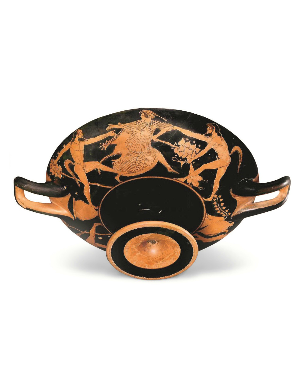 An Attic Red-Figure Kylix with Dionysos and Satyrs
