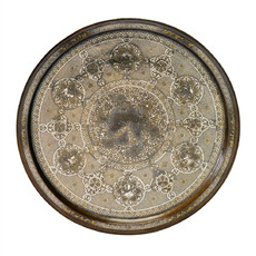 A Large Silver and Gold-inlaid Brass Tray Decorated with the Signs of the Zodiac