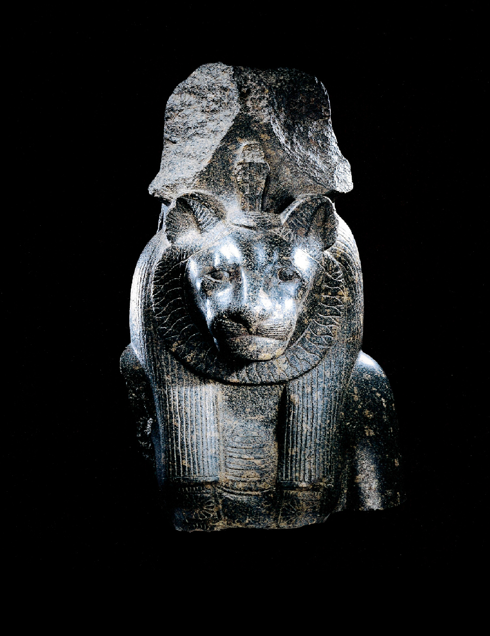 An Egyptian inscribed Grandiorite Bust of Sekhmet