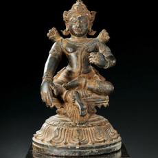An Orissan Grey Stone Figure of The God Rama
