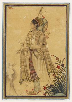 Woman Playing a Tambur while Singing